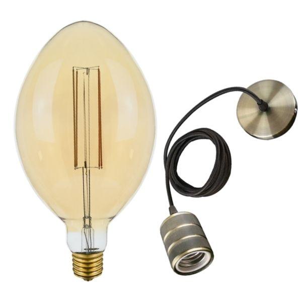 Set: Retro MAXI LED žárovka E40 6W 350lm extra teplá, filament + stropní závěs